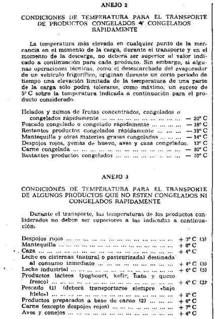 Temperaturas a cumplir normativa ATP