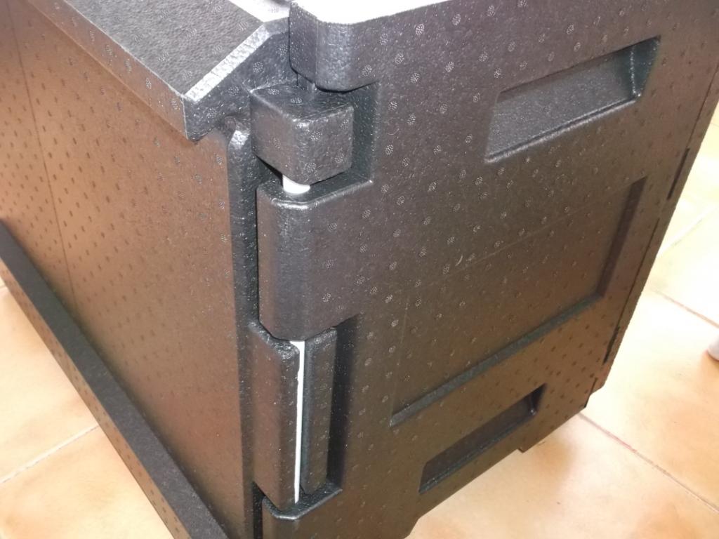 Maxi porter detalle bisagra contenedor isotérmico pastelería panadería