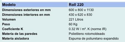 Características técnicas contenedor isotermico Olivo Roll 220
